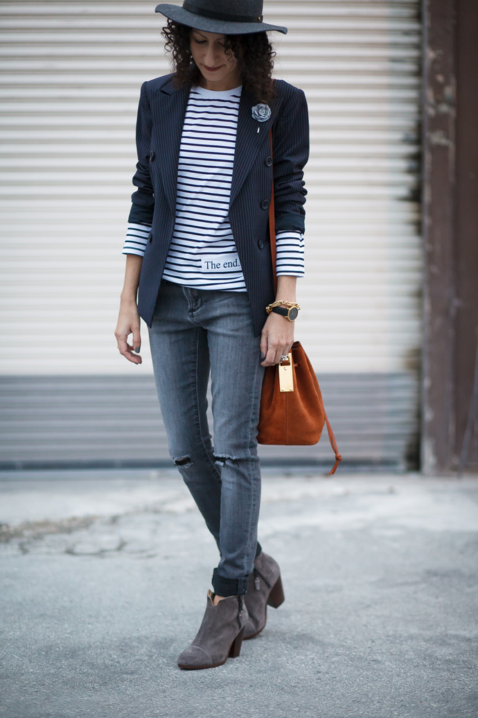 Outfit idea for a stripe tee shirt