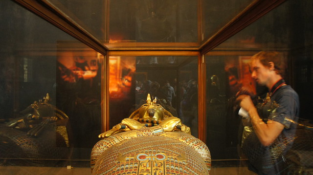King Tut's Golden sarcophagus at the Egyptian Museum in Cairo