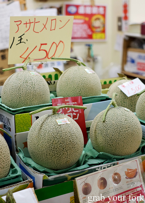 Asahi rockmelons at Hakodate Morning Market, Japan