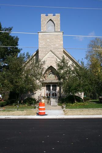 Former church building on Lincoln Street in Seneca, Illinois
