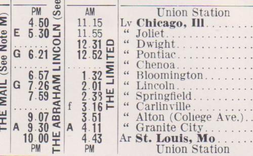GMandO 1962 Schedule