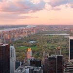 Sunset in Central Park from `Top of the Rock`, Rockefeller Center (New York).