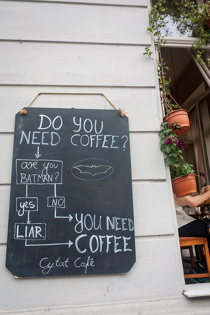 Sign outside cafe, Kraków