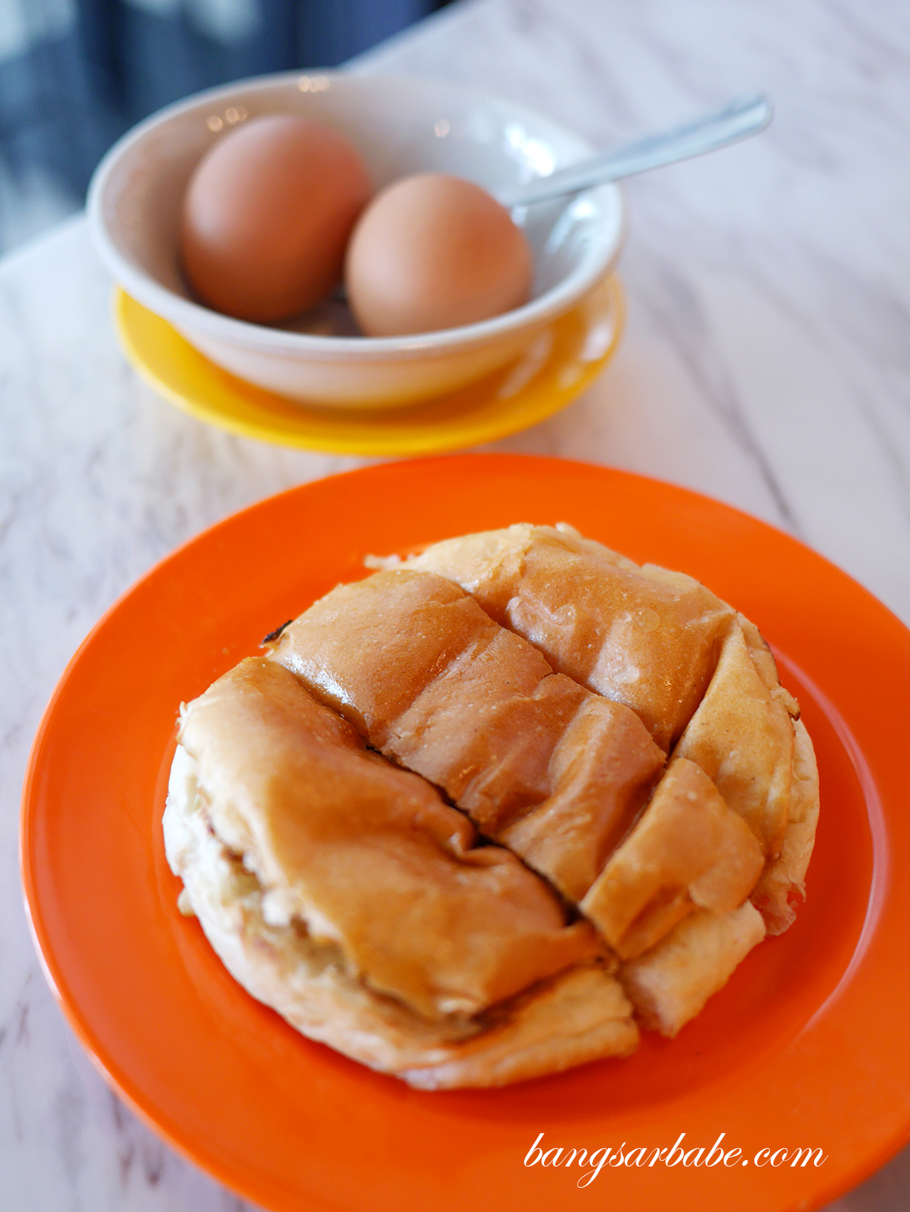 Bun Bakar with Soft Boiled Eggs