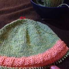 Hats are fun. #knit #hat #handdyed #yarn #iloveyarn #charity