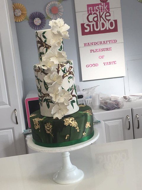 Green Malachite Wedding Cake by Rustik CAKE Studio