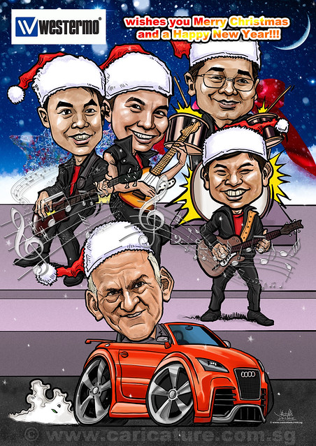 digital group caricatures for Westermo Christmas card - watermarked