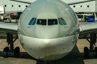 A7-AEJ Qatar Airways Airbus A330-302 coming in from Hamad Int´l Doha (DOH / OTBD) @ Frankfurt Rhein-Main International (FRA / EDDF) / 16.03.2014