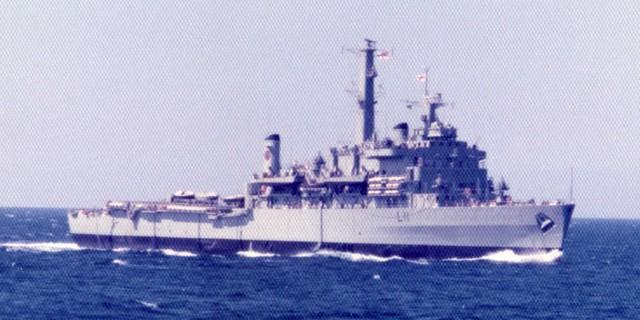 HMS Intrepid (L11) Fearless Class Landing Platform Dock (LPD) from HMS Hermes (R12) Eastern Mediterranean 1975