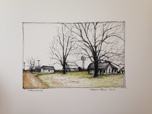 My great great grandfather Porter Davis Akin's farm in Akinsville, Missouri. Sketched from a pic I took last winter.