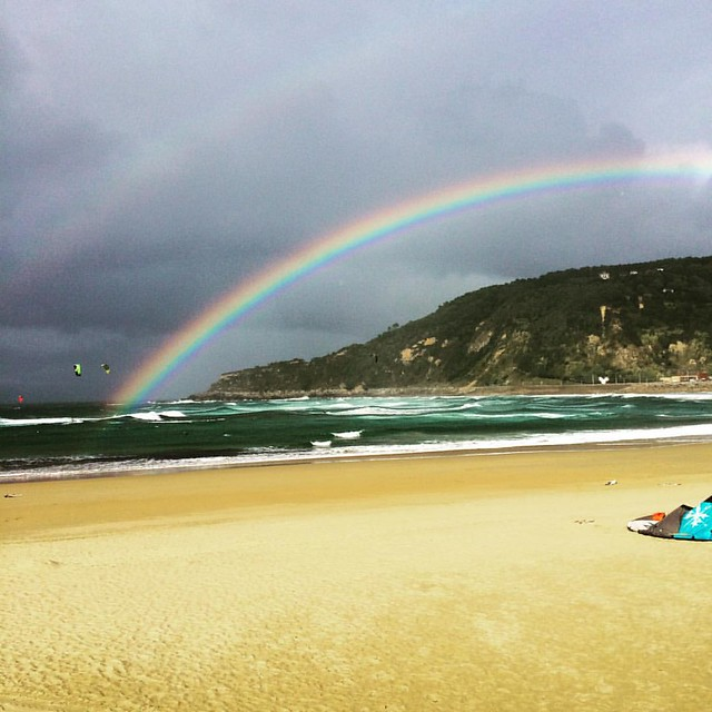 Day trip to Spain, crazy windy and the brightest rainbow I've ever seen!