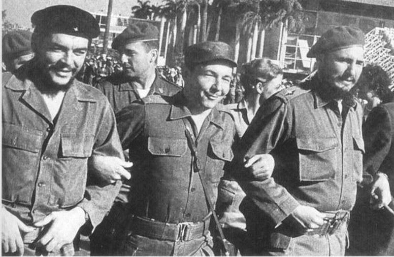 Che Guevara, Raul Castro, and Fidel Castro in day of Cuban Revolution victory