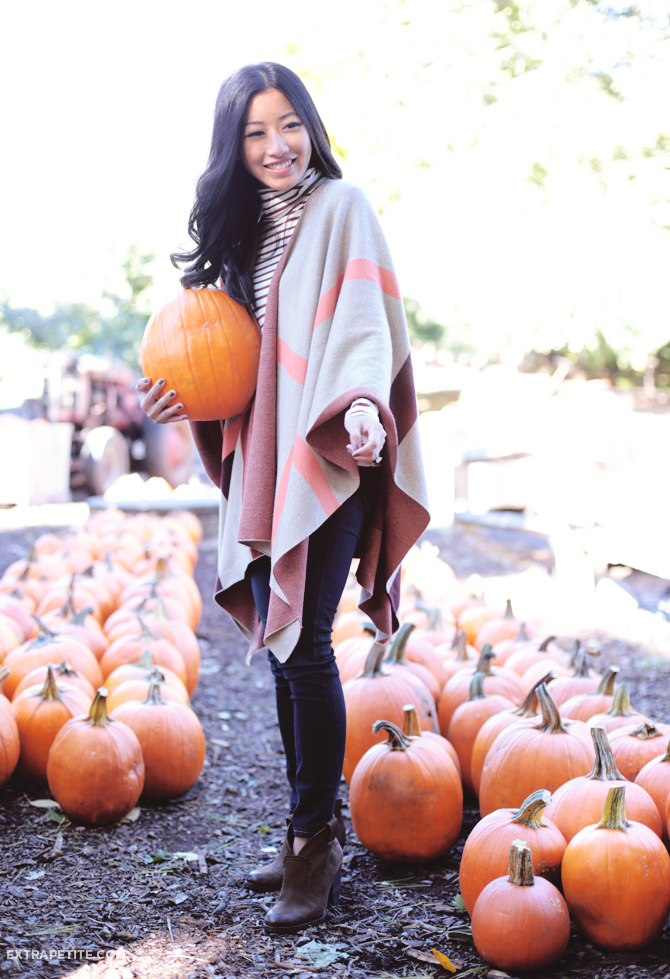 fall outfit stripes poncho sweater