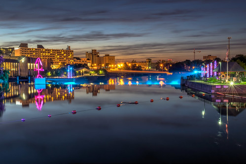 city longexposure sunset sky reflection clouds reflections river geotagged lights evening nikon downtown unitedstates indiana hdr southbend stjosephriver nikond5300 southbendriverlights