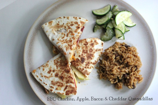 BBQ  Chicken Apple, Bacon and Cheddar Quesadillas