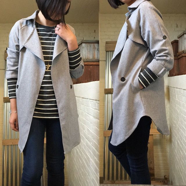 Shein Grey Long Sleeve Lapel Coat (size XS) & Lou & Grey Specklestripe Zip Tunic (size XXS regular)