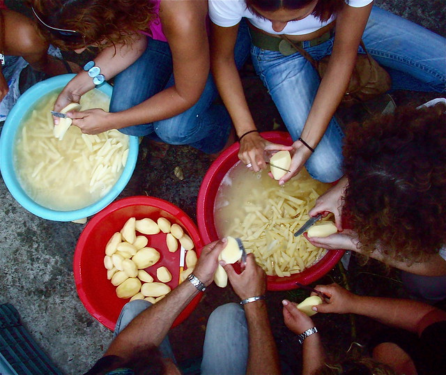 Peeling potatoes for the village festival in Ikaria