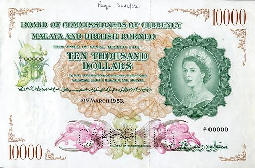 DNW - Malaya $10,000 note