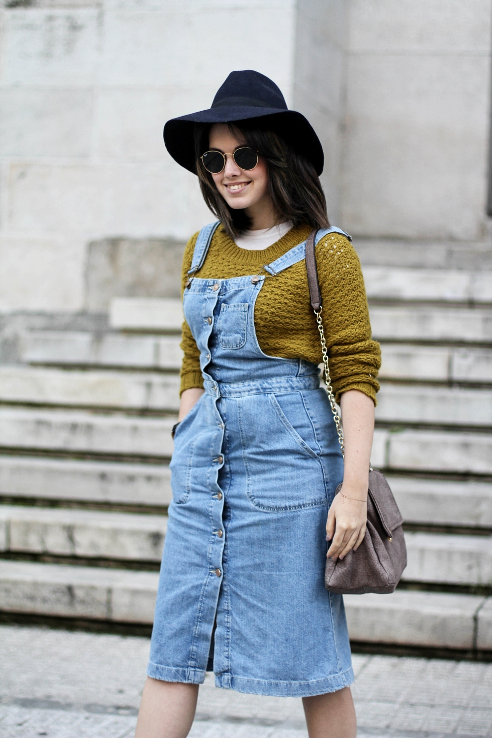 pinafore denim dress with rayban round sunglasses cya winter collection myblueberrynightsblog
