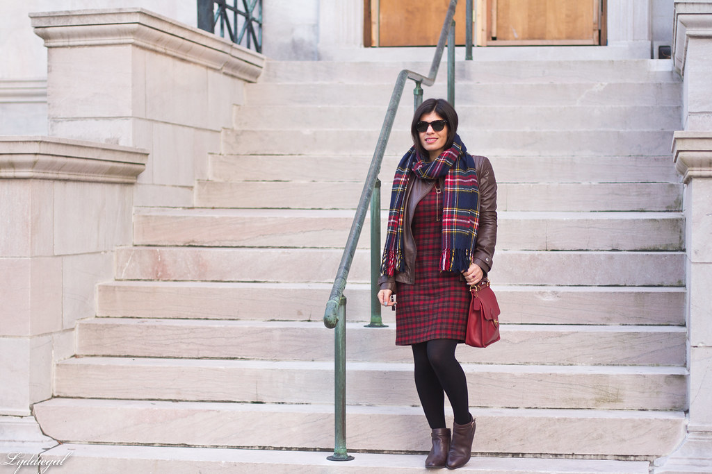 plaid dress, brown leather jacket, brown boots-8.jpg