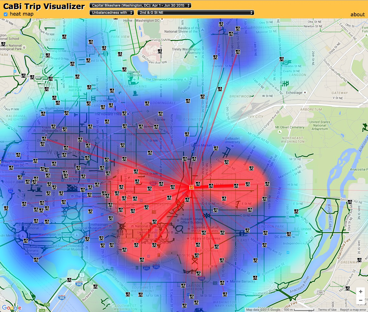 A health map rather than a heat map - #CTHNext Bikeshare Station's first two weeks
