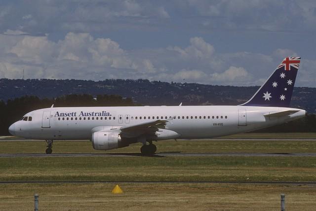 Ansett Australia Airbus A320-211; VH-HYG@ADL, November 1993