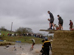 At the top of the hay bales - The Diving boards into yet more water Image