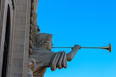 Fort Worth, Texas [Part 4 of 10] – In downtown Fort Worth near Sundance Square, these mighty angels beckon you to Bass Hall.  This performance hall is an important part of our town and the home of the Fort Worth Symphony Orchestra, Texas Ballet Theater, t
