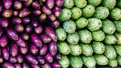 Eggplant and cucumbers at Asian market
