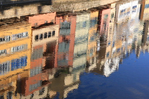 Girona - reflections of riverside buildings