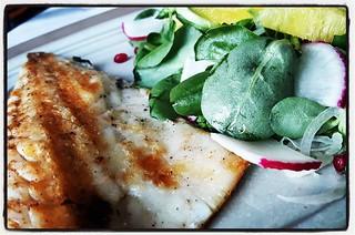 Sea Bass in Istanbul. Sigh. #seabass, #ignoredtheradish, #atethepomegranateseeds, #seafood, #fish, #reliefafterallthatmear, #beforecoffee, #IloveIstanbul, #Turkishfood, #solotravelling, #backtothegrind, #Turkey