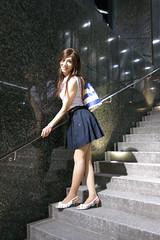 Sleeveless top and Navy miniskirt_8