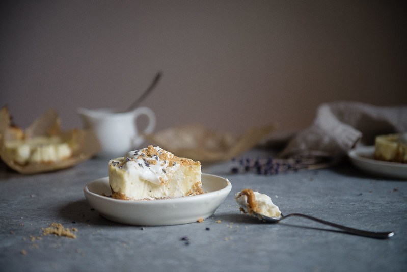 Goat Cheese Cheesecake lavender goat cheese cheesecakes - two red bowls