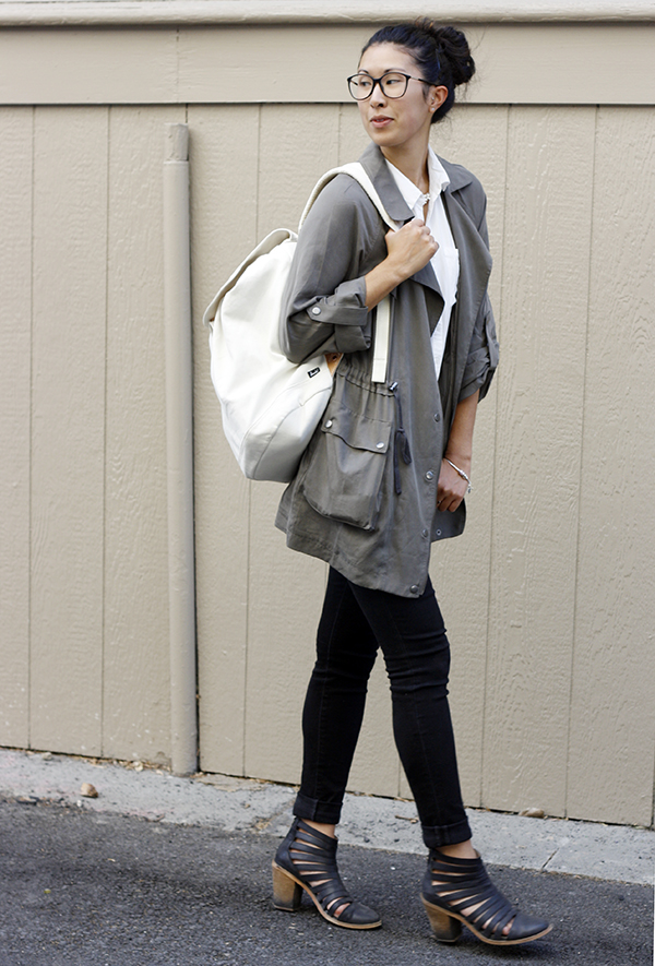relaxed utility coat, canvas backpack