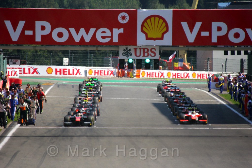 The start of the GP2 Feature Race at the 2015 Belgium Grand Prix