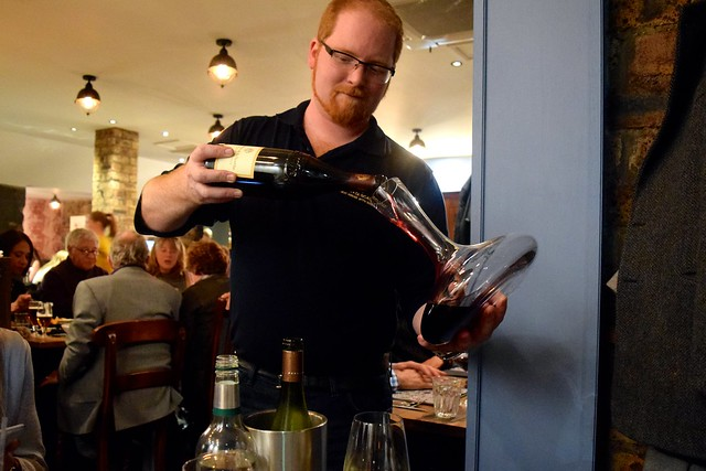 Decanting Wine at The Scran and Scallie, Edinburgh | www.rachelphipps.com @rachelphipps