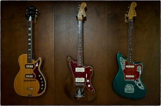 Harmony Stratotone, Elvis Costello Jazzmaster, Johnny Marr Jaguar, Septmeber 26, 2015