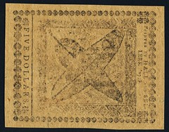 Continental Currency April 11, 1778 $5 Yorktown back