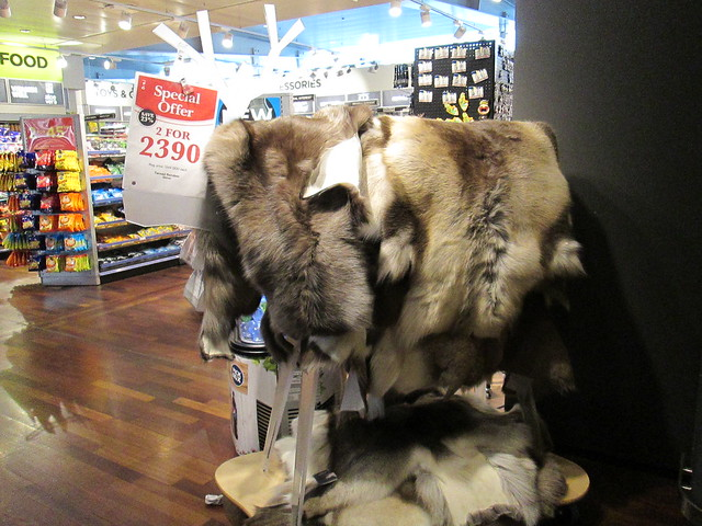 Reindeer skins for sale at Stockholm airport