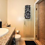 Spa or your own personal bathroom? The stand-up shower with marble tile says spa.