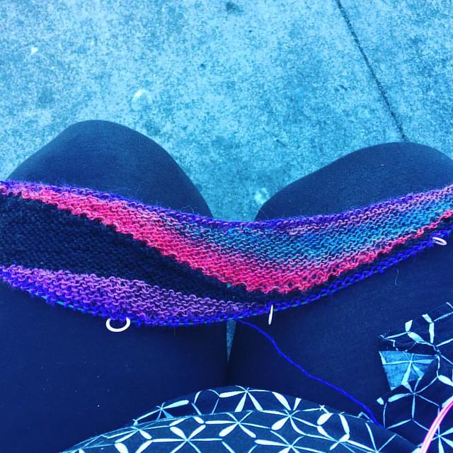 Lunch break knitting.
