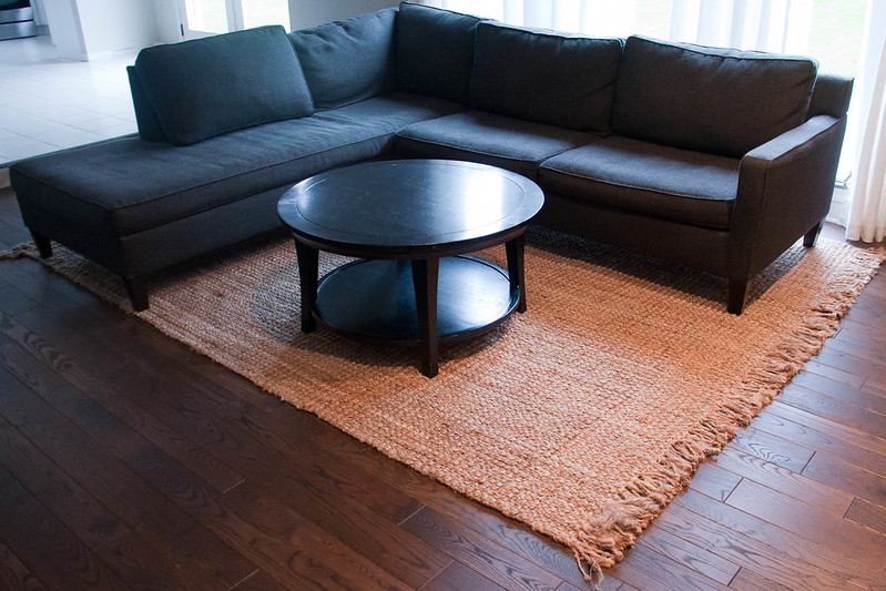 Gray Sectional Couch Natural Fiber Rub Pottery Barn Round Coffee Table