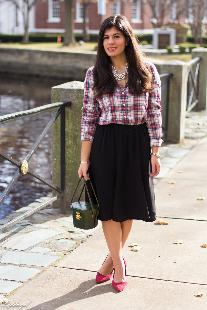 plaid shirt, pearl necklace black midi skirt, red pumps-8.jpg