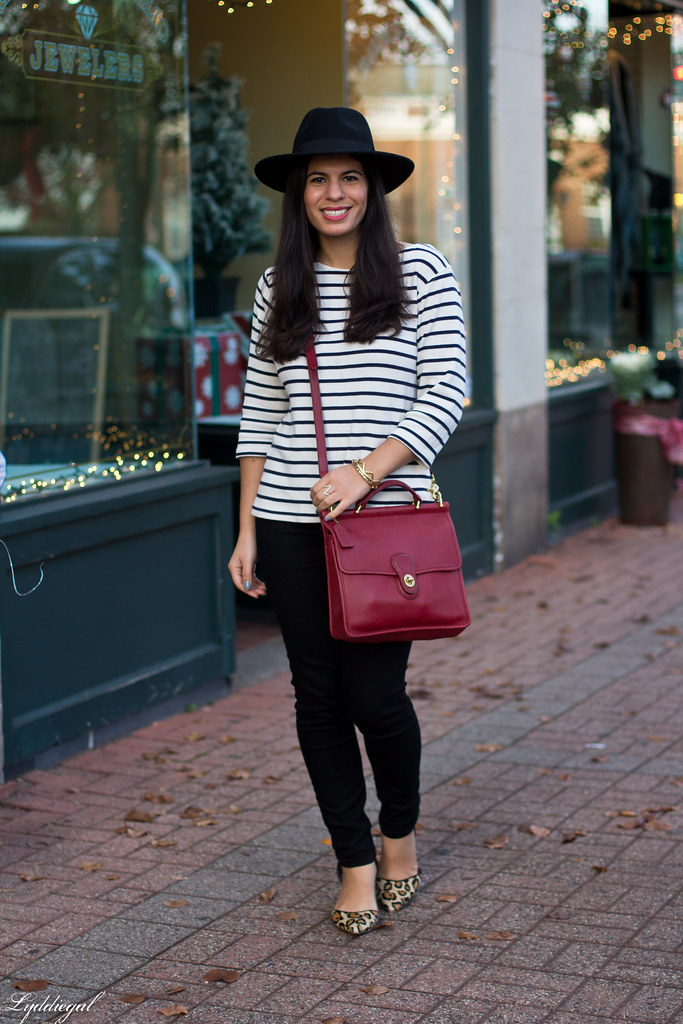 striped shirt, black jeans, leopard pumps, wool fedora-2.jpg