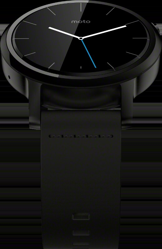Moto 360 v2 - 42mm Black case with Black Leather band