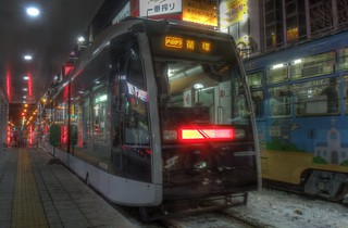 Susukino tramstop at Sapporo in evening on DEC 27, 2015 (23)