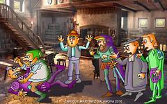 Don Quijote pelea con un cabrero en la taberna