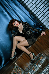 Black, short, transparent dress, high heels, shiny pantyhose