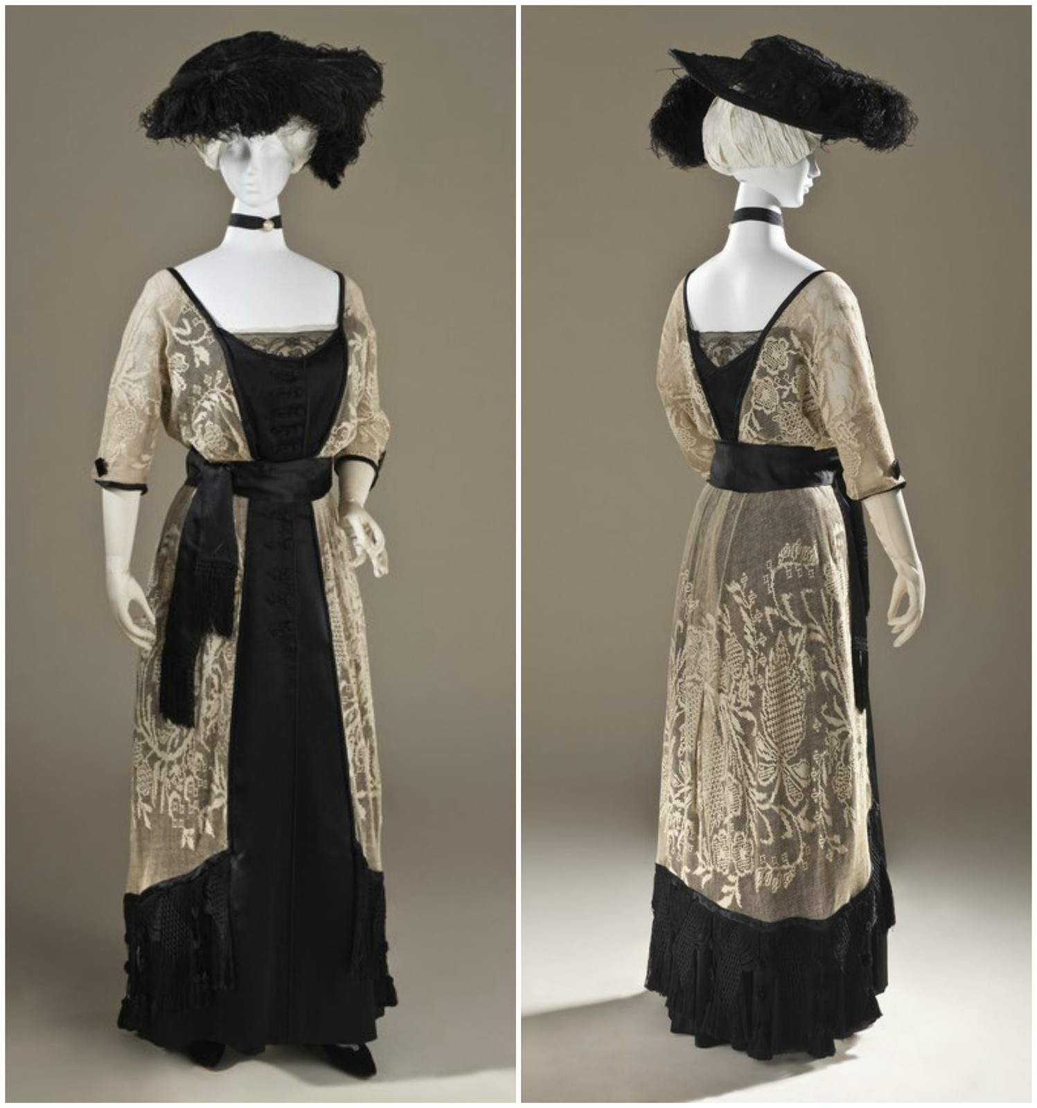1915 Woman's Dress. Callot Soeurs. Linen lace and silk satin with silk-knotted fringe. LACMA