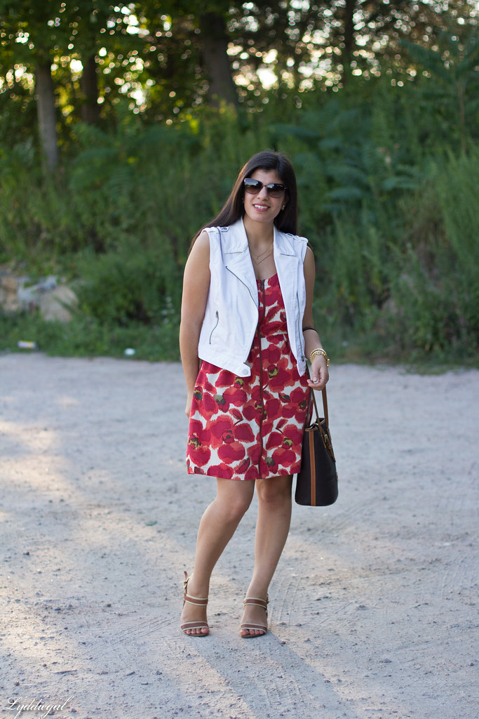 poppy print dress, white denim vest, dooney burke tote-3.jpg